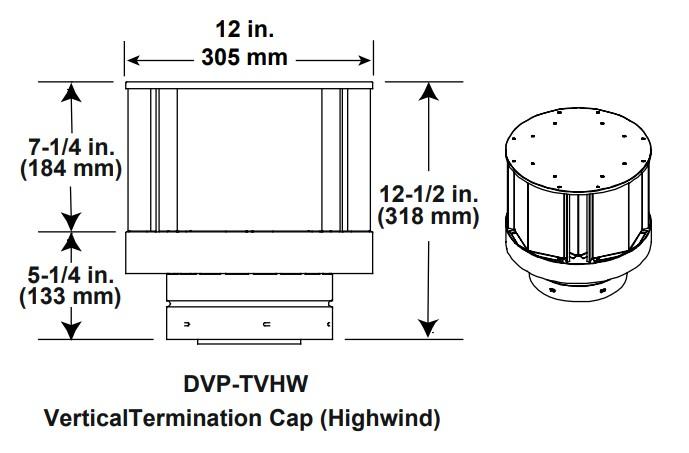 Majestic DVP-TVHW Vertical Termination Cap Highwind
