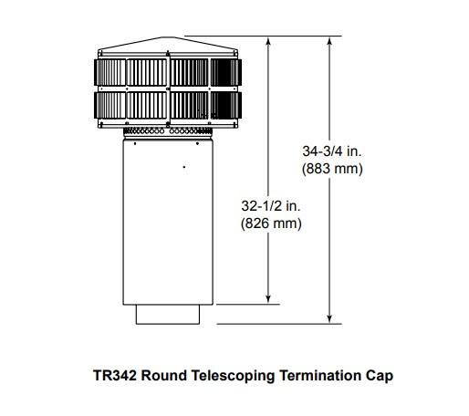 Majestic TR342 Round Telescoping Termination Cap