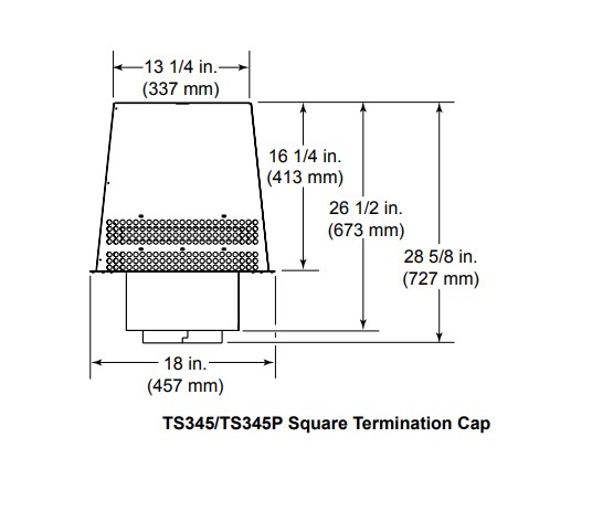 Majestic TS345-TS345P Square Termination Cap