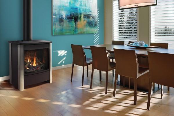 Kingsman Fireplaces FDV451-Stainless Charcoal-OakLog