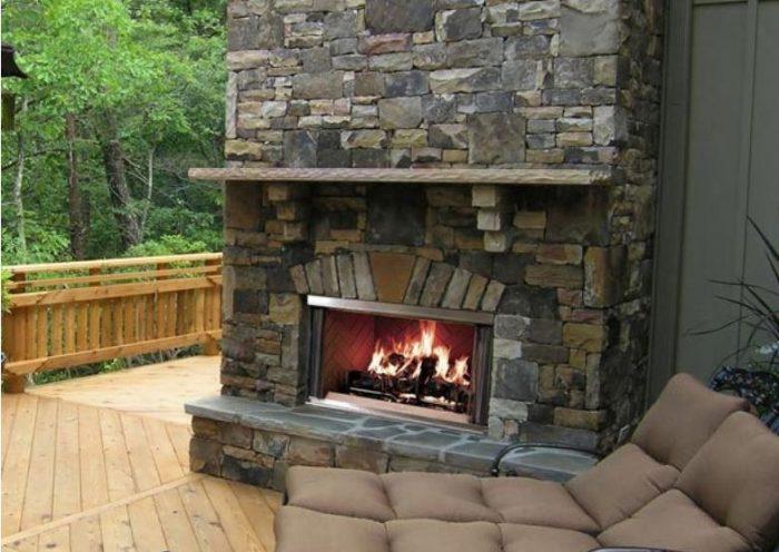 Majestic Montana outdoor fireplace