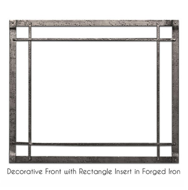 Empire Rushmore Decorative Front with Rectangle Inset in Forged Iron
